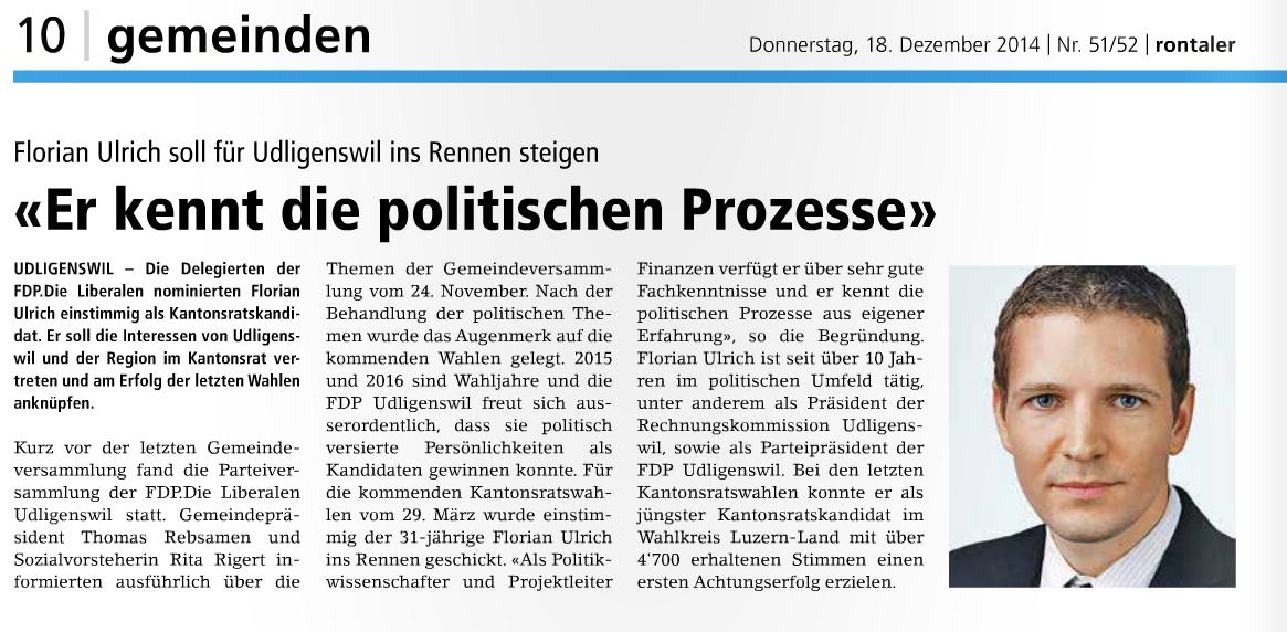 Nomination Florian Ulrich 2014 Rontaler